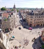 牛津,英国街道从上面 图库摄影