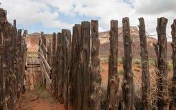 牛滑下是一部分的其中一个历史的平民保护军团项目在南犹他的沙漠 免版税库存图片