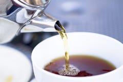 牛热倾吐的餐馆样式茶 免版税库存图片