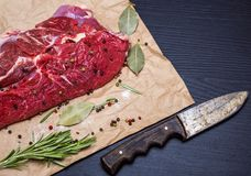 牛肉一个新片断  免版税库存照片