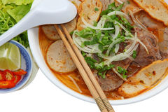 牛肉和猪肉米细面条 库存图片
