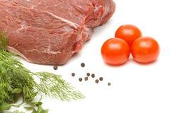 牛肉和蔬菜部分在白色的 免版税库存图片