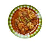 牛肉和蕃茄通心面汤 免版税库存图片