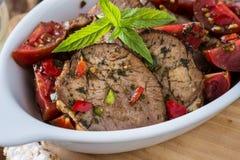 牛肉和西红柿开胃菜  免版税库存照片