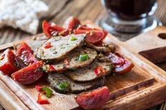 牛肉和西红柿开胃菜  图库摄影