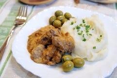 牛肉土豆泥沙拉酱肉 库存照片