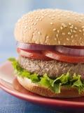 牛肉小圆面包汉堡种子芝麻 免版税库存照片