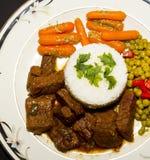 牛肉技巧和米 免版税库存图片