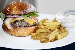 牛肉汉堡包和炸薯条 免版税库存图片