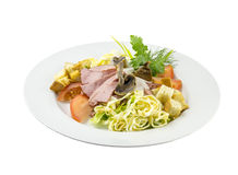 牛肉沙拉用蘑菇和蕃茄 免版税库存图片