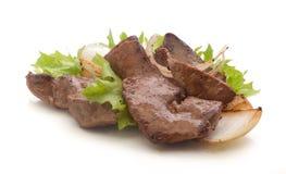 牛肉油煎了肝脏 库存图片
