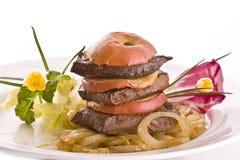 牛肉油煎的肝脏 库存照片