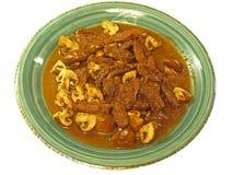 牛肉炖satay的蘑菇 库存照片