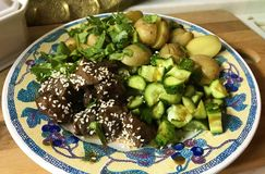 牛肉用土豆和黄瓜在板材 免版税图库摄影