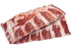 牛肉肉 未加工的黑人安格斯使被隔绝的牛肋骨有大理石花纹 免版税库存照片