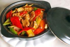 牛肉辣椒瓷可口食物 库存照片