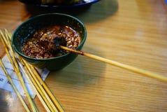 牛肉satay小汤的花生 免版税库存图片