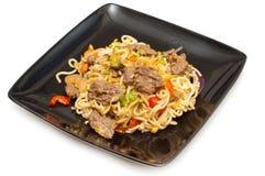 牛肉stirfry食物的mein 免版税库存照片