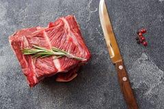 牛肋骨新未加工的片断用在黑暗的具体背景的肉与拷贝空间 免版税库存图片