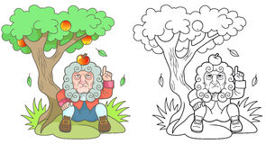 牛顿坐在苹果树下 免版税库存照片