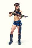 牛仔与枪的女孩猎人 库存图片