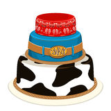牛仔党生日蛋糕。传染媒介例证 免版税库存图片