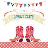 牛仔党西部卡片 与牛仔鞋子的传染媒介标志 免版税图库摄影