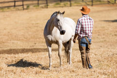 牛仔和马 免版税库存图片