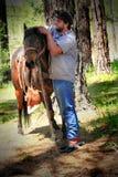 牛仔和马 库存照片