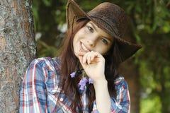牛仔女孩帽子纵向工作室 免版税库存照片