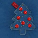 牛仔布圣诞树 免版税库存照片