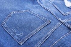牛仔布裤子的口袋 免版税图库摄影
