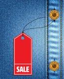 牛仔布销售例证和背景 向量例证