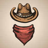 牛仔帽和班丹纳花绸scraf 也corel凹道例证向量 免版税库存照片