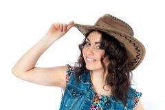 牛仔帽的微笑的女孩 免版税库存图片