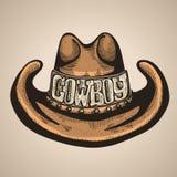 牛仔帽马乘驾使用 设计例证担任主角向量 免版税库存图片