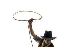 牛仔投掷套索白色被隔绝 免版税库存照片