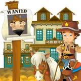 牛仔-狂放的西部-孩子的例证 免版税库存照片