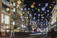 牛津街道圣诞灯在伦敦 库存照片