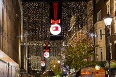 牛津街11月13日2014年,伦敦,装饰为圣诞节 免版税库存图片