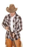 牛仔破裂下来枪神色 免版税图库摄影