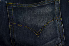 牛仔裤口袋关闭纹理,背景 库存图片