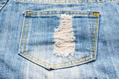 牛仔裤口袋纺织品纹理 库存图片