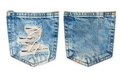 牛仔裤口袋纺织品纹理 库存照片