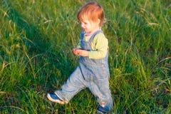 牛仔裤工作服步行的微笑孩子在草 库存图片