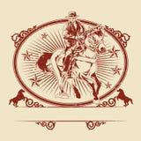 牛仔骑乘马的例证 免版税库存照片