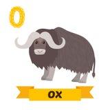 黄牛 O信件 逗人喜爱的在传染媒介的儿童动物字母表 滑稽的汽车 免版税库存照片