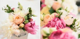 牡丹和玫瑰的植物布置 图库摄影