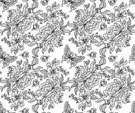 牡丹和蝴蝶无缝的BW 库存照片
