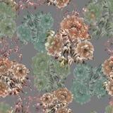 牡丹米黄和绿色花的无缝的样式在深刻的灰色背景的 背景细部图花卉向量 水彩 向量例证